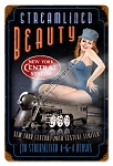 Streamlined Beauty Pin Up Girl Vintage Metal Sign