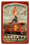 Cute Caboose Pin Up Girl Vintage Metal Sign
