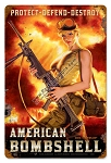 American Bombshell Pin Up Metal Sign
