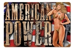 American Power Pin Up Metal Sign