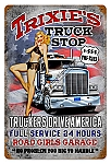 Trixie's Truck Stop Vintage Metal Sign