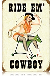 Ride Em' Cowboy Vintage Metal Sign