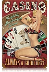 Casino Pinup Vintage Metal Sign