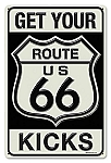 Route 66 Kicks Vintage Metal Sign