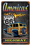 America's Highway Woody Vintage Metal Sign