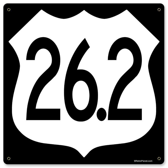 Marathon Mileage Marker Vintage Metal Sign