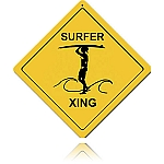 Surfer Xing Vintage Metal Sign