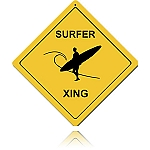 Surfer Crossing Vintage Metal Sign