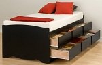 Tall Black Twin (6-drawer) Platform Storage Bed By Prepac