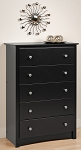 Black 5-drawer Chest By Prepac