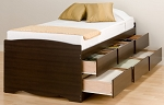 Tall Espresso Twin (6-drawer) Platform Storage Bed By Prepac