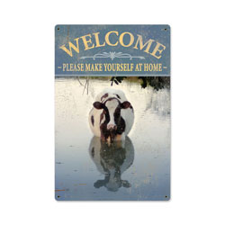 Welcome Cow Vintage Metal Sign