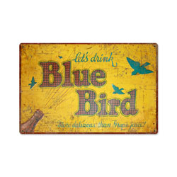 Blue Bird Drink Vintage Metal Sign