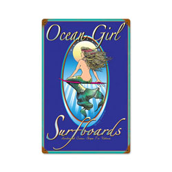 Ocean Girl Vintage Metal Sign