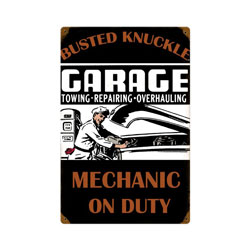 Mechanic On Duty Vintage Metal Sign