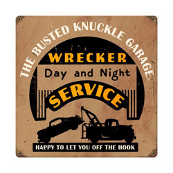Wrecker Service Vintage Metal Sign