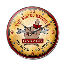 Busted Knuckle Garage Vintage Metal Sign Clock