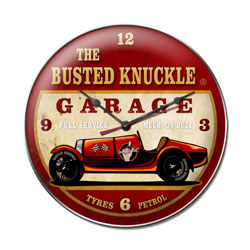 Old Race Car Vintage Metal Sign Clock