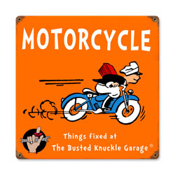 Kids Motorcycle Vintage Metal Sign