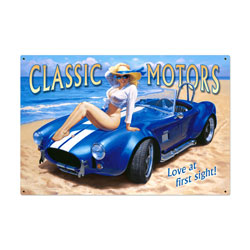 Classic Motors Vintage Metal Sign