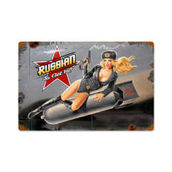 Russian Nose Art Vintage Metal Sign