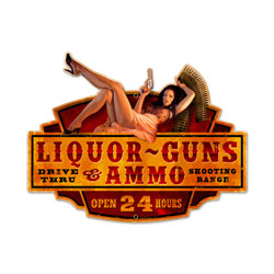 Liquor Guns Ammo Vintage Metal Sign