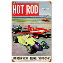 Hot Rods in the Sky Vintage Metal Sign