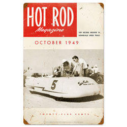 October 1949 Hot Rod Vintage Metal Sign