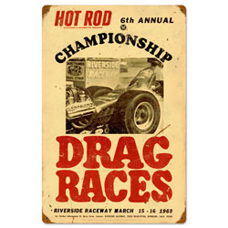 championship Drag Races Vintage Metal Sign