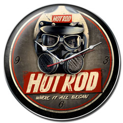 Hot Rod Helmet Vintage Metal Sign Clock
