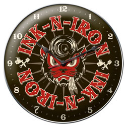 Cool Kat Vintage Metal Sign Clock