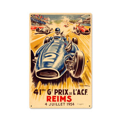 Reims Grand Prix Vintage Metal Sign