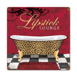 Lipstick Lounge Vintage Metal Sign
