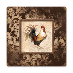 Rooster Frames Vintage Metal Sign