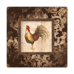 Rooster Square Vintage Metal Sign