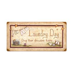 Laundry Drop Drawers Vintage Metal Sign