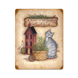 Home with Cat Vintage Metal Sign