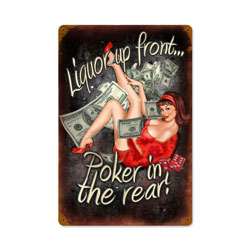 Poker In The Rear Vintage Metal Sign