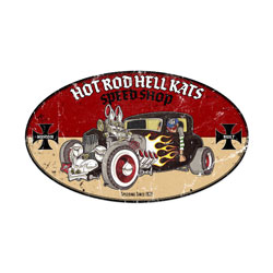 Hot Rod Hell Kats Vintage Metal Sign