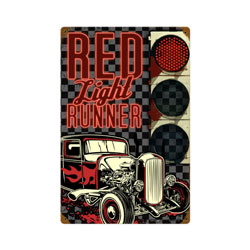 Red Light Runner Vintage Metal Sign