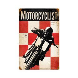 November 1951 Motorcyclist Vintage Metal Sign