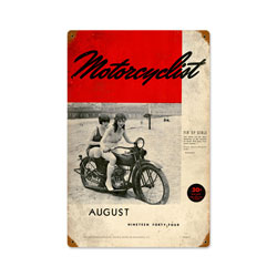 August 1944 Motorcyclist Vintage Metal Sign