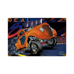 Gasser Real Steel Vintage Metal Sign