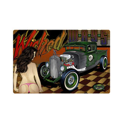 Rat Rod Wicked Ways Vintage Metal Sign