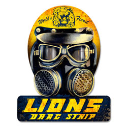 Lions Drag Helmet Vintage Metal Sign