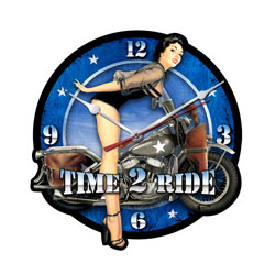 Time 2 Ride Vintage Metal Sign Clock