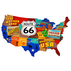 Route 66 USA Vintage Metal Sign