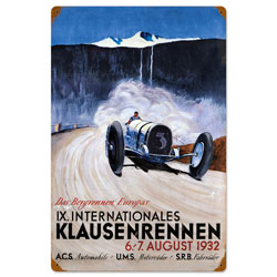 Klausenrennen Vintage Metal Sign