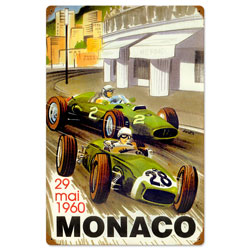Monaco Races Vintage Metal Sign