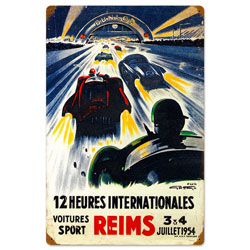Reims Racetrack Vintage Metal Sign